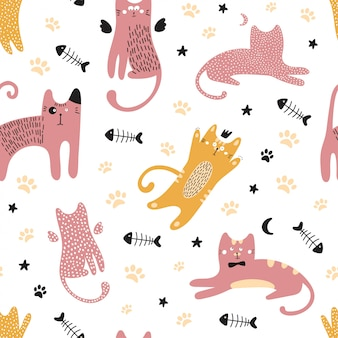 Cute seamless pattern with cats.