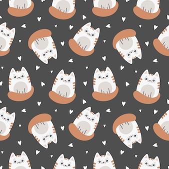 猫とのかわいいシームレスパターン