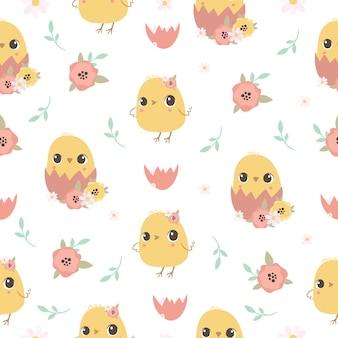 병아리와 함께 귀여운 원활한 패턴