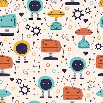 Cute seamless pattern with childish robot funny drawing