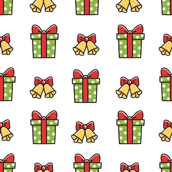 Cute seamless pattern with christmas box gift and bells