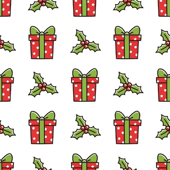 Cute seamless pattern with christmas box gift and mistletoe