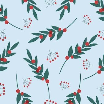 クリスマスの植物とかわいいシームレスパターン。