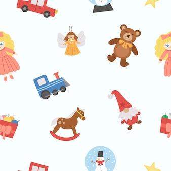 クリスマスのおもちゃとかわいいシームレスパターン。子供のための新年の贈り物とベクトルの背景。サンタクロースのデジタルペーパーが子供たちにプレゼントします。