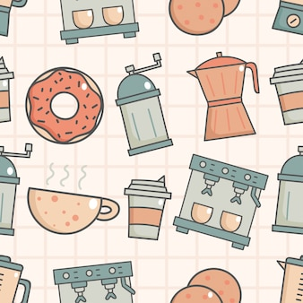 Cute seamless pattern with coffee shop