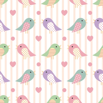 Cute seamless pattern with colorful bird
