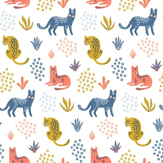 Cute seamless pattern with colorful leopards.