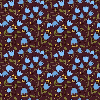 Cute seamless pattern with colorful small flowers