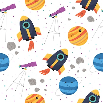 Cute seamless pattern with colorful spaceship, planets, telescope and asteroids
