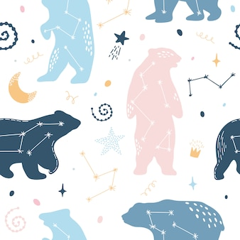 Cute seamless pattern with constellations bears