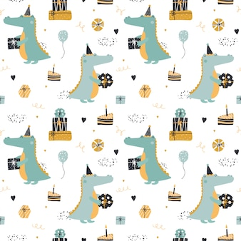 Cute seamless pattern with crocodile with birthday presents.