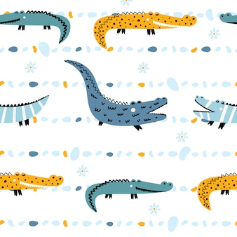 Cute seamless pattern with crocodiles