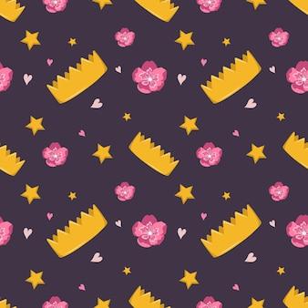 王冠の花と星とかわいいシームレスパターン