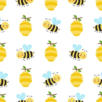 Cute seamless pattern with cute bees and hives