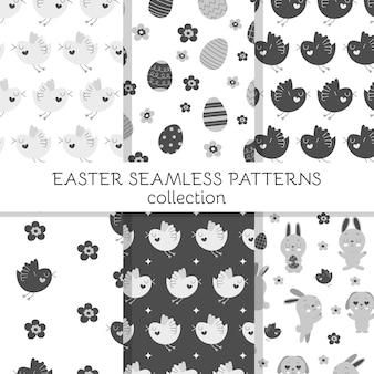 Симпатичные бесшовные модели с милыми пасхальными кроликами, украшенными яйцами и цветами.