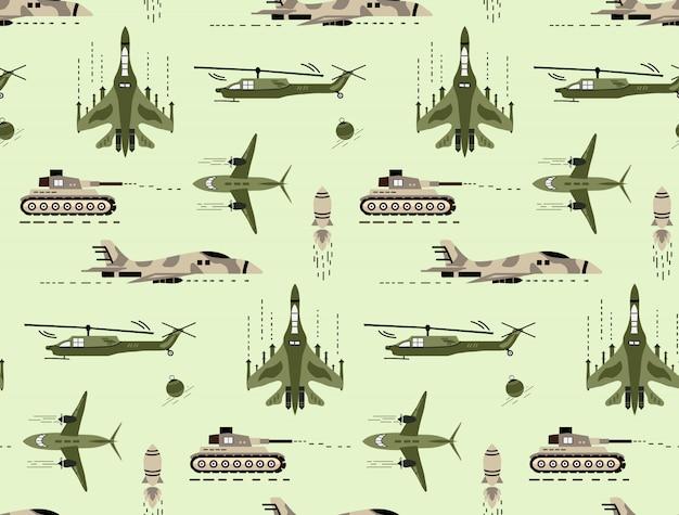 귀여운 손으로 귀여운 원활한 패턴 그린 군사 차량 및 군대
