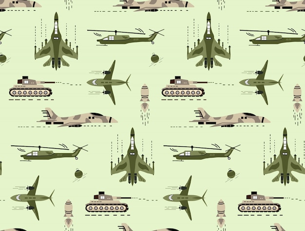 Cute seamless pattern with cute hand drawn military vehicle and army