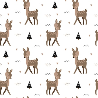 Cute seamless pattern with deers