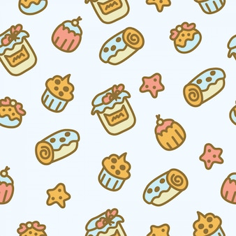 Cute   seamless pattern with different pastries and sweets. cakes, sweet rolls, jam, buns, cookies.