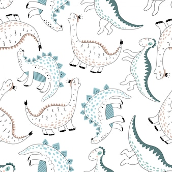 Cute seamless pattern with dinosaurs.