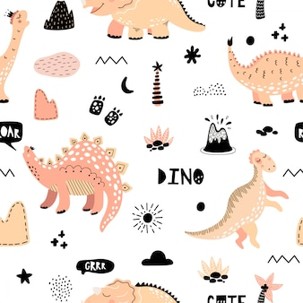 Cute seamless pattern with dinosaurs