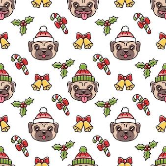 페어 아일 크리스마스 모자에 개 품종 퍼그와 귀여운 원활한 패턴