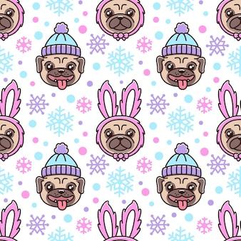 Симпатичные бесшовные модели с собакой породы мопс в шляпе и собакой в костюме кролика