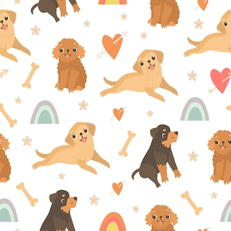 Cute seamless pattern with dogs and rainbow