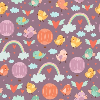 Cute seamless pattern with doodle birds and balloons