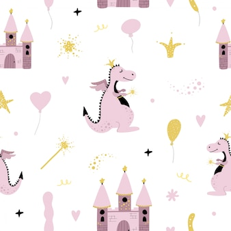 Cute seamless pattern with dragon and castle.