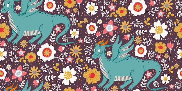 Cute seamless pattern with dragons, plants, and flowers