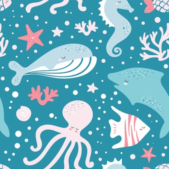 Cute seamless pattern with fish, whale, octopus