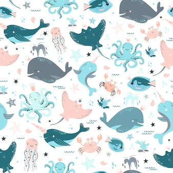 Cute seamless pattern with fish