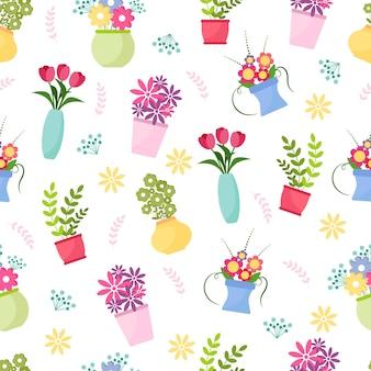 꽃과 꽃병으로 귀여운 완벽 한 패턴입니다. 꽃과 흰색 바탕에 가지의 꽃 벡터 컬렉션입니다. 웹 배너, 초대장, 카드, 의류, 가정 장식, 직물. 벡터 일러스트 레이 션