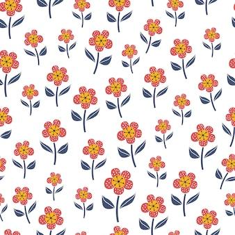 스칸디나비아 스타일의 꽃과 귀여운 완벽 한 패턴입니다.