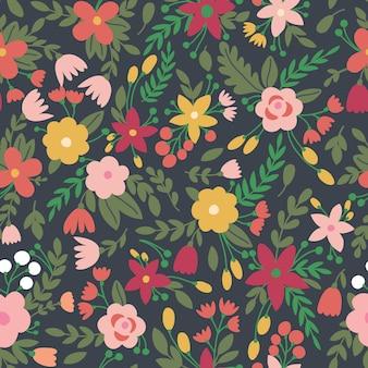 Симпатичные бесшовный фон с цветами в векторе. может быть использован для летних фонов