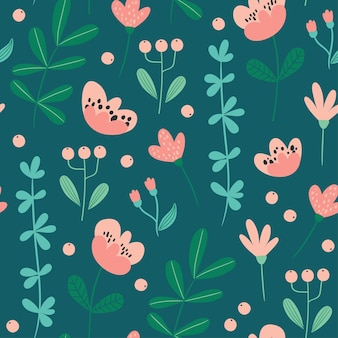 Cute seamless pattern with flowers and leaves perfect for wrapping paper fabric texture wallpaper