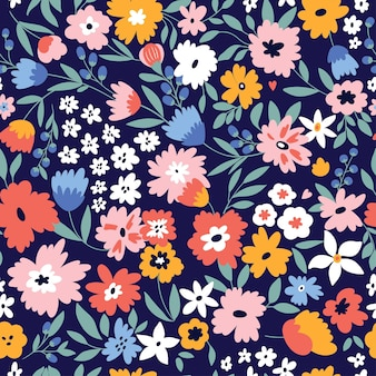 Cute seamless pattern with flowers and leaves