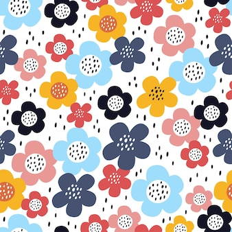 Cute seamless pattern with flowers in scandinavian style.