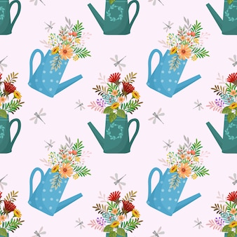 Cute seamless pattern with flowers in watering cans.