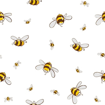 Cute seamless pattern with flying bees. vector illustration eps10