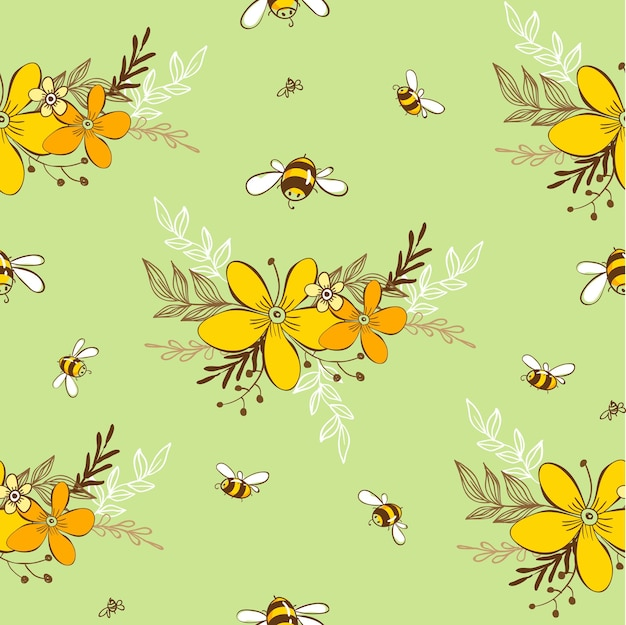 Cute seamless pattern with flying bees. vector illustration eps10.