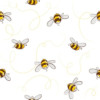 Cute seamless pattern with flying bees.