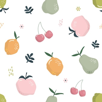 Cute seamless pattern with fruits.