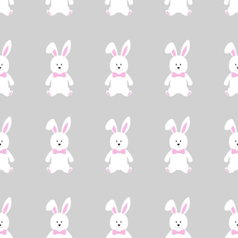 Cute seamless pattern with funny cartoon character easter bunny.