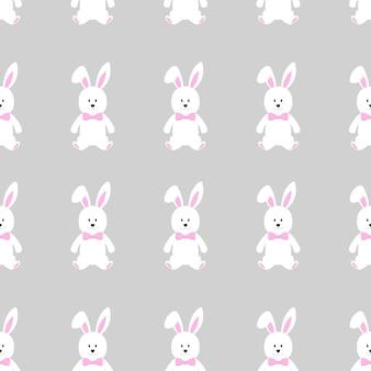 Симпатичные бесшовные модели с забавным персонажем мультфильма пасхальный заяц.