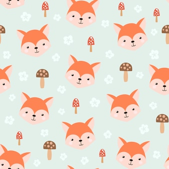 Cute seamless pattern with funny fox.