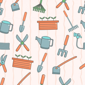 Cute seamless pattern with gardening