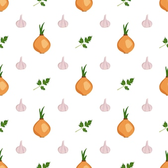 Cute seamless pattern with garlic onion and parsley herbs vegetable harvest print summer or autumn