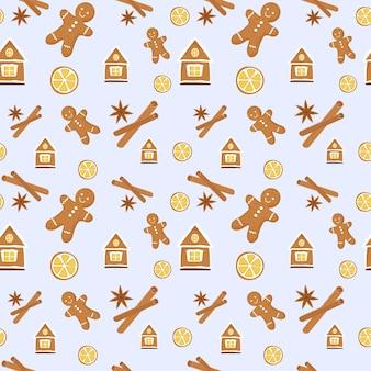 ジンジャーブレッドクッキーとオレンジとシナモンのかわいいシームレスパターン